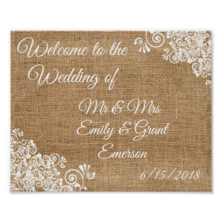 Custom Welcome to the Wedding of Rustic Burlap Poster