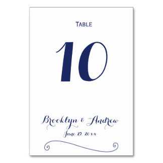 Custom White And Blue Wedding Table Numbers Table Card