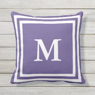 Custom White and Purple Monogrammed Throw Pillow