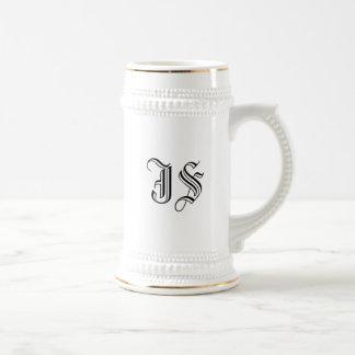 Custom White Beer Stein Calligraphy Initials