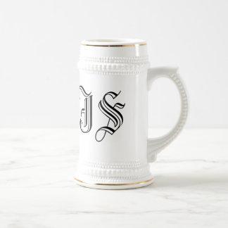 Custom White Beer Stein Calligraphy Initials 18 Oz Beer Stein