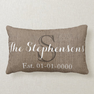 Custom White/ Burlap-Look Rustic Wedding/Family Lumbar Pillow
