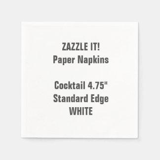 Custom WHITE Cocktail Paper Napkins Blank