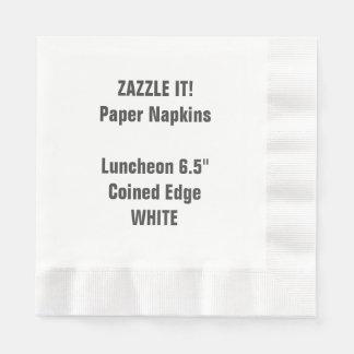 Custom WHITE Coined Luncheon Paper Napkin Blank