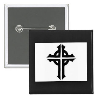 Custom white cross 2 inch square button