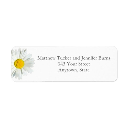 Custom White Daisy Envelope Return Address Labels