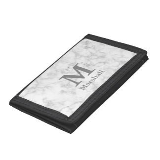 Custom White Marble Look Monogram and Name Tri-fold Wallet