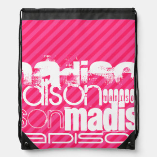 Custom White Name Pattern on Hot Pink Stripes Cinch Bags