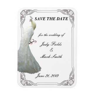 Custom White Peacock Wedding Save The Date Magnet
