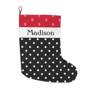 Custom White Polka Dots on Black with Red Large Christmas Stocking