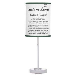 Custom WHITE Table Lamp LINEN Shade D. GREEN Trim