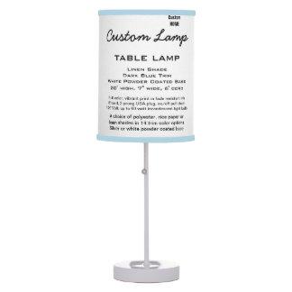 Custom WHITE Table Lamp LINEN Shade L. BLUE Trim