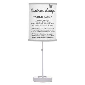 Custom WHITE Table Lamp LINEN Shade MED. GREY Trim