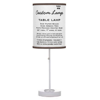 Custom WHITE Table Lamp PAPER Shade D. BROWN Trim