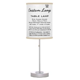 Custom WHITE Table Lamp PAPER Shade KHAKI Trim