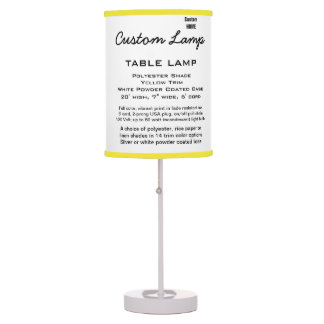 Custom WHITE Table Lamp POLY Shade YELLOW Trim
