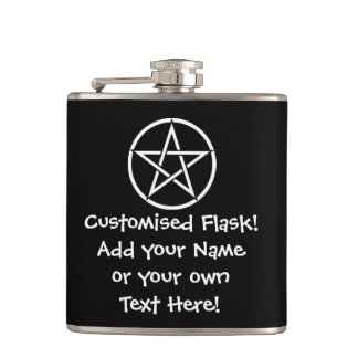 Custom Wiccan/Pagan Pentacle Hip Flask