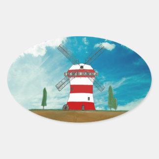 Custom Windmill Designed Products Oval Sticker