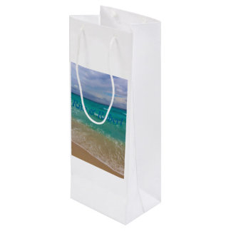 Custom Wine Gift Bag/ Beach Wedding Wine Gift Bag