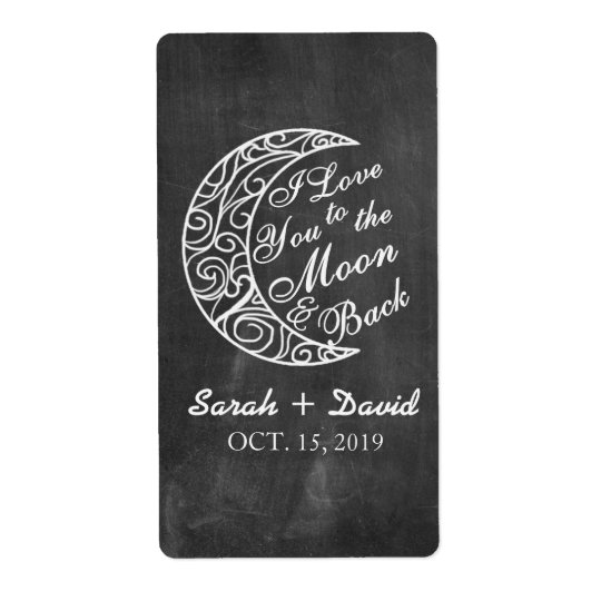 "Custom Wine Labels ""Love You To The Moon and Back"""