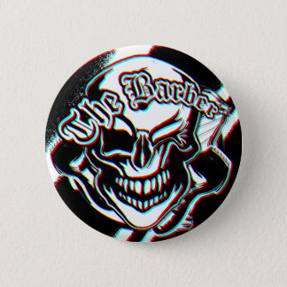 Custom Winking Barber Shop Skull 2 Inch Round Button