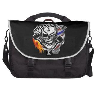 Custom Winking Barber Skull with Flaming Razor Laptop Commuter Bag