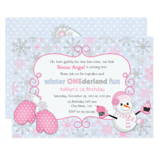Custom Winter One-derland 1st Birthday Card