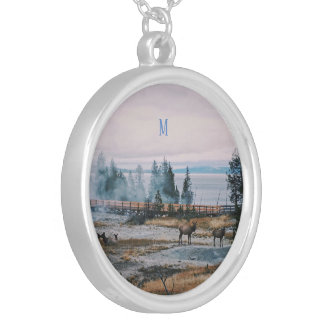 Custom Winter Snowfall trees reindeer joy holidays Silver Plated Necklace