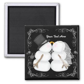 Custom Winter Wedding Snowman Bride and Groom Magnet