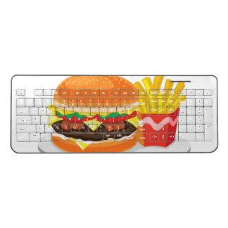 custom wireless cheeseburger and fries keyboard