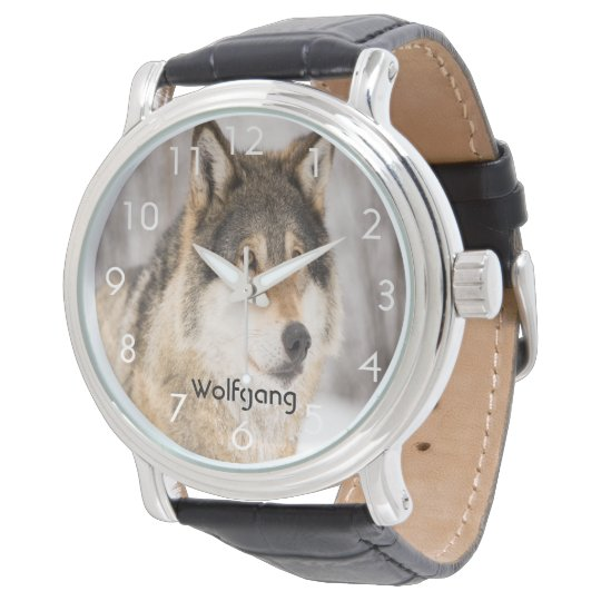 Custom wolf face head in a winter forest add name wrist watch