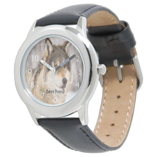 Custom wolf face head in a winter forest add name wristwatches