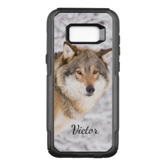 Custom wolf in a winter forest looking for a prey OtterBox commuter samsung galaxy s8+ case