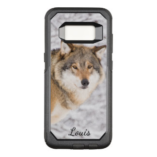 Custom wolf in a winter forest looking for a prey OtterBox commuter samsung galaxy s8 case