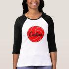 Custom Women's 3/4 Sleeve Red Volleyball T-shirt