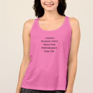 Custom Womens Girls Neon Pink Performance TankTop