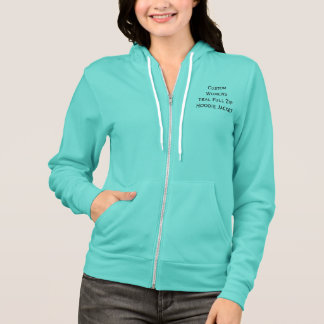 Custom Womens Stylish Teal Full Zip Hoodie Jacket
