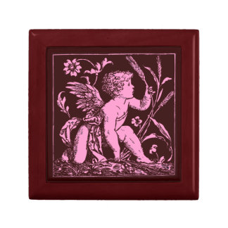 Custom Wooden Gift Box Pink Cupid on Ceramic Tile