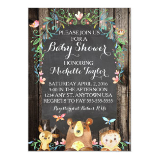 Custom Woodland animals baby shower invitation