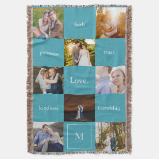 Custom Words Photos Meaningful Gift Blanket Blue Throw Blanket
