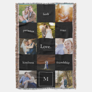 Custom Words Photos Meaningful Gift in Black Throw Blanket