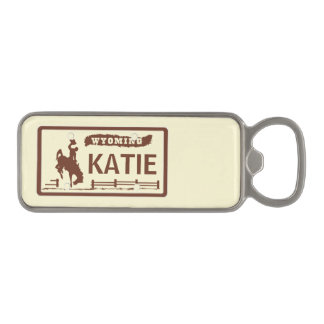 Custom WY License Plate Magnetic Bottle Opener