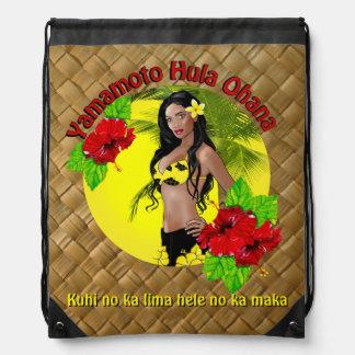 Custom Yamamoto Hula Ohana Drawstring Backpack Red