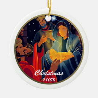 Custom Year and Family Name Christmas Ornaments