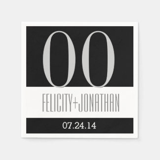 Custom Year Anniversary Modern Black Silver V21 Paper Napkins