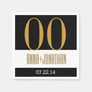 Custom Year Anniversary Modern Gold and Black V06 Paper Napkins