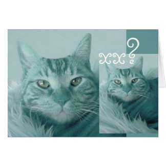Custom Year Birthday Card - AQUA BLUE Cat
