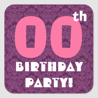 Custom Year Birthday Party Pink and Purple Square Sticker