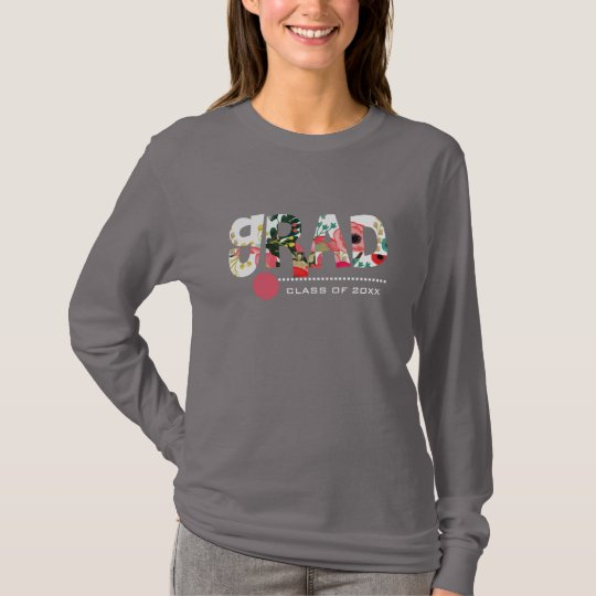 Custom Year Floral Pattern Text Graduation T-Shirt