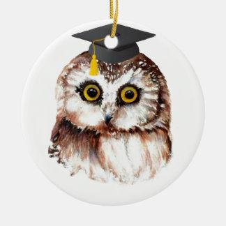 Custom Year Graduation Fun Wise Owl Round Ceramic Ornament